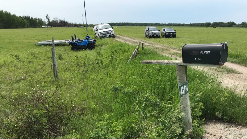 Manitoba RCMP remained at Eric Wildman's rural property in the R.M. of St. Clements on Wednesday, June 16, 2021. (Source: Josh Crabb/ CTV News Winnipeg)