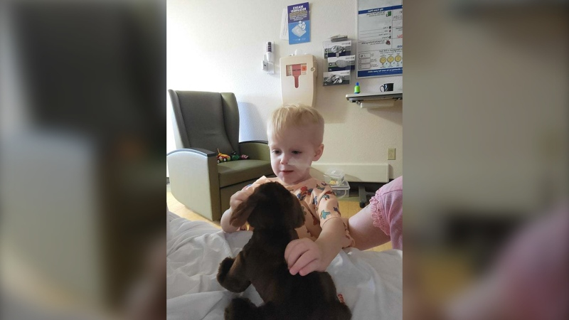 Konin Arrington is hospitalized with short bowel syndrome after he swallowed 16 small magnetic balls that became linked together in his intestine, his mother said. (Submitted: Hannah Arrington/CNN)