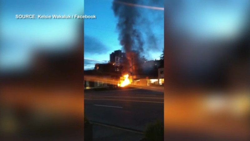 A fire at Ajac's Equipment in Nanaimo is part of a surge in suspicious fires in the city. (Kelsie Wakaluk/Facebook)