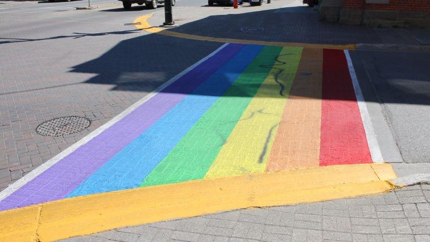 Pride crosswalk in Orangeville defaced