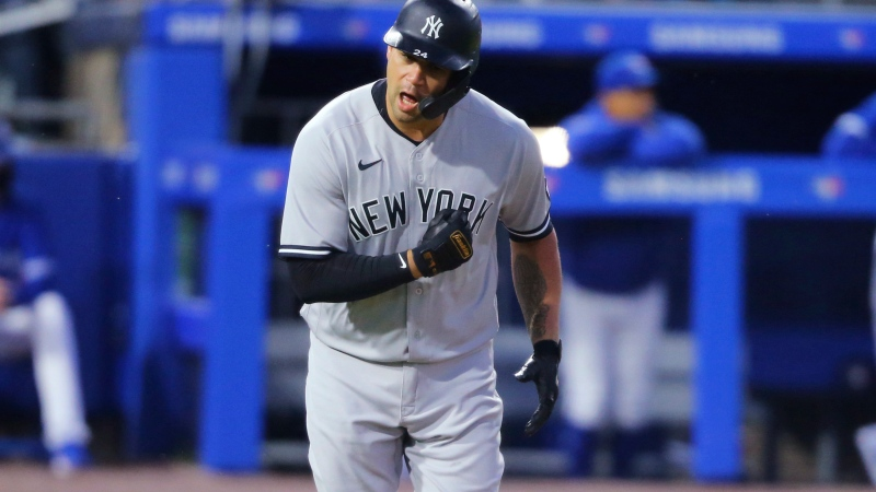 New York Yankees Gary Sanchez celebrates his two-run home run during the seventh inning of the team's baseball game against the Toronto Blue Jays, Wednesday, June 16, 2021, in Buffalo, N.Y. (AP Photo/Jeffrey T. Barnes)