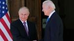 Russian President Vladimir Putin, left, and U.S President Joe Biden shake hands during their meeting at the 'Villa la Grange' in Geneva, Switzerland in Geneva, Switzerland, Wednesday, June 16, 2021. (AP / Alexander Zemlianichenko, Pool)