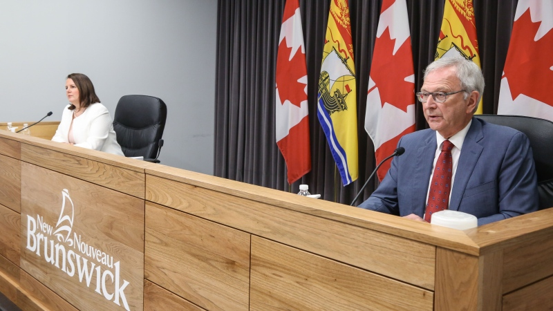New Brunswick premier Blaine Higgs and chief medical officer of health Dr. Jennifer Russell provide an update on COVID-19 at a news conference in Fredericton on June 16, 2021. (Photo: Laura Brown / CTV Atlantic)