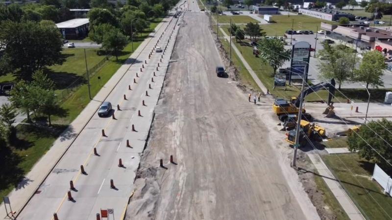 Lauzon Parkway construction in Windsor, Ont. on Thursday, June 17, 2021. (Bob Bellacicco / CTV Windsor)