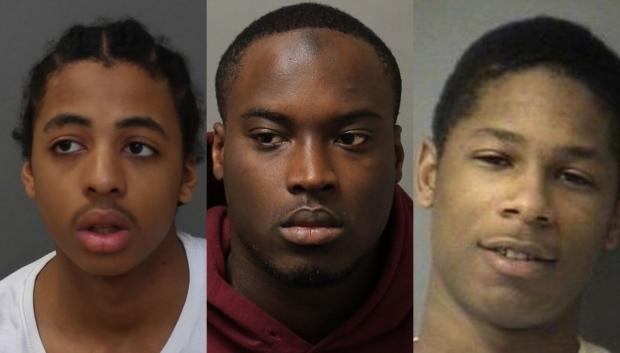 Javontae Johnson, 19, of Oshawa, Glen Danchie, 30, of Toronto and Terrell Burke Whittaker, 25, of Brampton. (Supplied by Toronto Police Services)