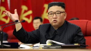 In this photo provided by the North Korean government, North Korean leader Kim Jong Un speaks during a Workers' Party meeting in Pyongyang, North Korea, Tuesday, June 15, 2021.(Korean Central News Agency/Korea News Service via AP)