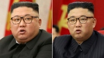 This combination of file photos provided by the North Korean government, shows North Korean leader Kim Jong Un at Workers' Party meetings in Pyongyang, North Korea, on Feb. 8, 2021, left, and June 15, 2021. The content of this image is as provided and cannot be independently verified. (Korean Central News Agency/Korea News Service via AP, File)