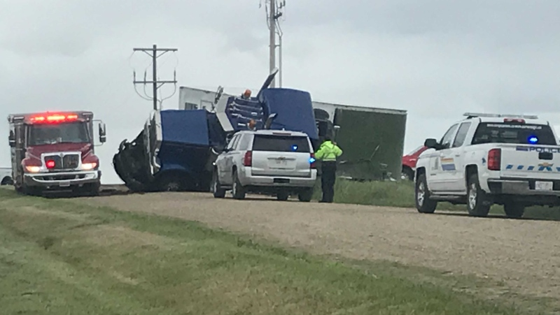 Leduc RCMP are asking motorists to avoid Range Road 245 and Township Road 484, south of Leduc, after a collision between a horse trailer and a garbage truck on Thursday morning. (Galen McDougall/CTV News Edmonton)