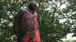 The vandalized statue of Sir Winston Churchill in downtown Edmonton as seen on June 17, 2021 (Matt Marshall/CTV News)