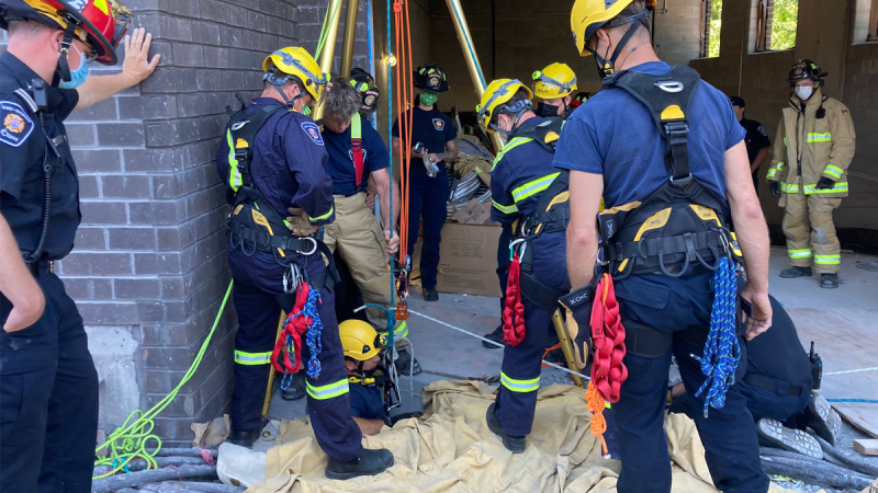 Ottawa fire crews rescued a man from a six-metre-deep manhole at a construction site in Ottawa. (Photo courtesy: Twitter/OttFire)