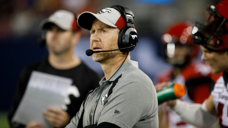 Calgary Stampeders head coach Dave Dickenson is seen during second half of CFL action against the Toronto Argonauts in Toronto on Sept. 20, 2019. (THE CANADIAN PRESS/Cole Burston)
