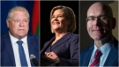 Doug Ford, Andrea Horwath and Steven Del Duca are seen in these undated photographs.