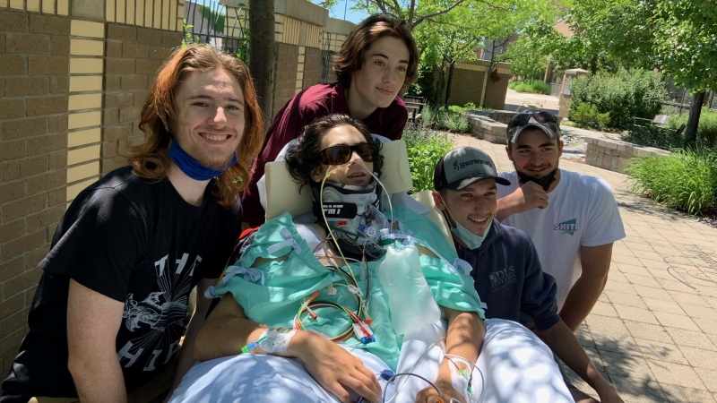 Connor Mathewson, centre, is pictured with his brothers Caius and Cole, and his best friends Cody Fulford and Dawson Hickling in London, Ont. on Thursday, June 17, 2021. (Reta Ismail / CTV News)