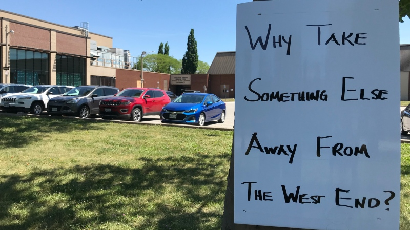 A rally opposing the potential closure of the Adie Knox pool was held in Windsor, Ont. on Thursday, June 17, 2021. (Michelle Malueske/CTV Windsor)