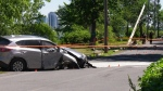 Scene of Pierrefonds car accident