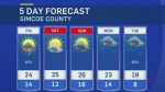 Five-day forecast for CTV Barrie: June 17