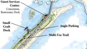 A preliminary rendering of the Lagoon Beach pathway is shown: (City of Colwood)