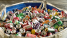 A pile of cans at the North Coast Regional District's recycling depot in Prince Rupert.