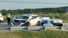 Police are investigating after collision at Erbs Road and Wilmot Line on Thursday, June 17, 2021. (Terry Kelly/CTV Kitchener)