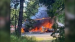 A highway on Vancouver Island has been closed to traffic in both directions after a gas station went up in flames Thursday afternoon. (Becks Dale Mitch)