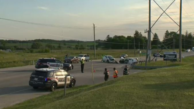 Two people were taken to hospital following a four-vehicle crash at Erb's Road and Wilmot Line Thursday evening.