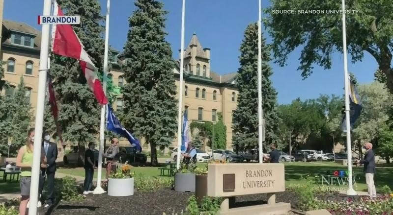 Brandon University's welcoming flags on display