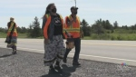 Several people are taking part in a three-day, 135-km 'water walk' from Sudbury to Spanish, to raise awareness about Junction Creek. June 17/21 (Alana Everson/CTV Northern Ontario)