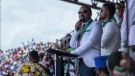 Ethiopia's Prime Minister Abiy Ahmed speaks at a final campaign rally in Jimma, Ethiopia on June 16, 2021. (Mulugeta Ayene / AP)