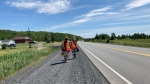 Water walkers travel west on Highway 17 from Garson to Spanish, Ont. June 18/21 (Alana Everson/CTV Northern Ontario)