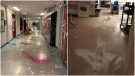 Photos provided by the Nelson Police Department show the aftermath of what officers call a graduation prank taken too far at a high school in Nelson, B.C.