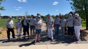 The Williston Walkers, a group at The Williston retirement home walked around Harbour Landing today in celebration of raising $5,000 for the Canadian Mental Health Association. (Andrew Benson/CTV News)