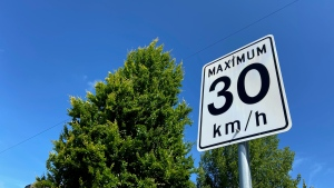 A speed limit sign is seen in Vancouver on Friday, June 18, 2021.