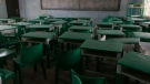 In this Monday, March 1, 2021 file photo, empty desks and chairs are seen at the Government Girls Secondary School where more than 300 girls were abducted by gunmen on Friday, in Jangebe town, Zamfara state, northern Nigeria. (AP Photo/Sunday Alamba, File)