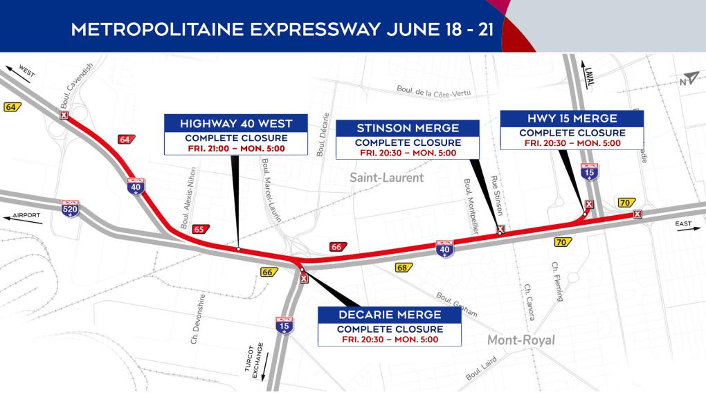 Metropolitan Expressway closures June 18 to 21