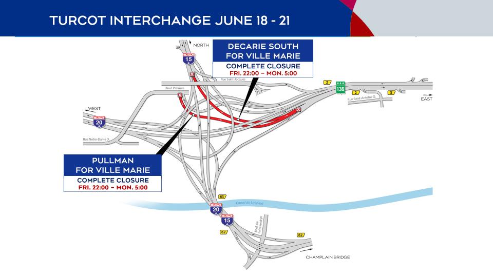 Turcot Interchange closures June 18 to 21