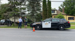 Police outside of a home near Belleville, Ont. where Eric Wildman was arrested by Ontario Provincial Police. (Source: Marisa Dragani)