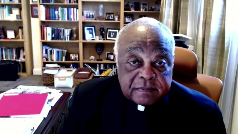 In this photo taken from video, Cardinal Wilton Gregory of Washington rejects a motion to draft a formal statement on the meaning of the Eucharist in the life of the church during the U.S. Conference of Catholic Bishops' virtual assembly on Thursday, June 17, 2021. Wilton has made clear that Biden is welcome to receive Communion at churches in the archdiocese. (United States Conference of Catholic Bishops via AP)