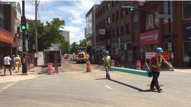 The renovation of Spring Garden Road includes re-surfacing the roadway, widening sidewalks and installing underground wiring.