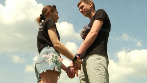 After 123 days handcuffed together to save their relationship, Ukrainian couple Alexandr Kudlay and Viktoria Pustovitova have split up, shedding their bonds on national TV and agreeing the experiment had brought home some uncomfortable truths. (Screenshot of Reuters video taken June 17, 2021)