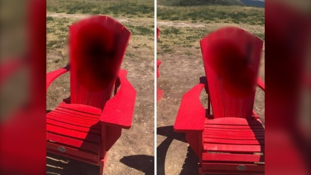 Member of Parliament for York Centre Ya'ara Saks posted this photograph of anti-Semitic graffiti found on two chairs at Downsview Park.