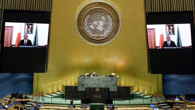 The United Nations General Assembly, seen in this Semp. 26, 2020 file photo, has called for a stop to the flow of arms to Myanmar and urged the military to respect November election results and release political detainees, including leader Aung San Suu Kyi. (Manuel Elias/UN Photo via AP)