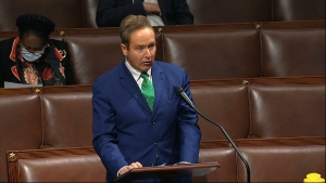 In this image from video, Rep. Brian Higgins, D-N.Y., speaks on the floor of the House of Representatives at the U.S. Capitol in Washington, Thursday, April 23, 2020. (House Television via AP)