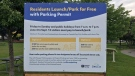 A sign in Orillia, Ont. details the cost of parking or launching a boat. Fri. June 18, 2021 (Rob Cooper/CTV News)
