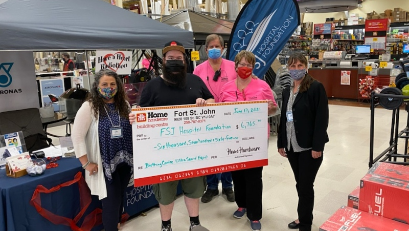 One of the many donations during the 2021 Have a Heart Radiothon. Photo Left to right - Fort St. John Hospital Foundation Tanya Richardson, Erik Wedekind, Move FM announcer, live on location with Shelley and Doug Gallinger owners of the FSJ Home Hardware and Niki Hedges Executive Director on June 17th