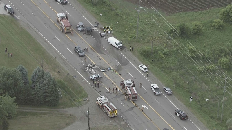 Emergency crews are responding to a serious collision on Highway 6 in Hamilton. (Chopper 24)