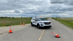 A highway near Lumsden, Sask. was closed due to a serious single vehicle crash Friday afternoon. (Gareth Dillistone/CTV News)