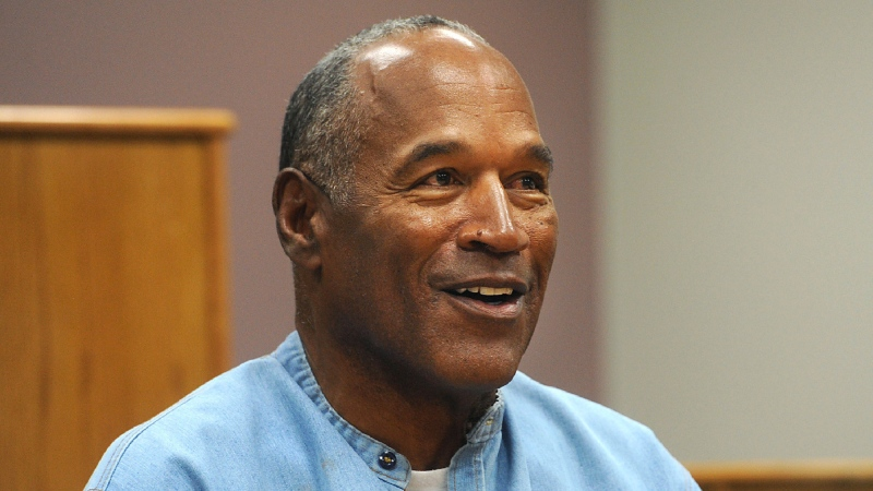 In this July 20, 2017, file photo, former NFL football star O.J. Simpson appears via video for his parole hearing at the Lovelock Correctional Center in Lovelock, Nev. (Jason Bean/The Reno Gazette-Journal via AP, Pool, File)