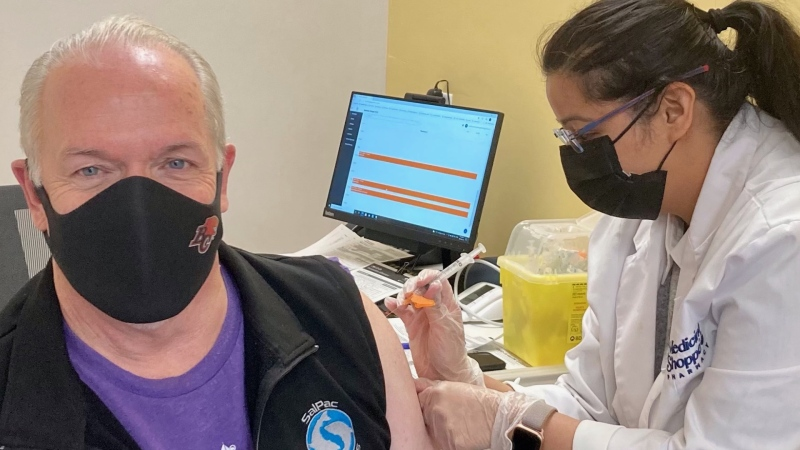 B.C. Premier John Horgan receives his second dose of COVID-19 vaccine on Friday, June 18, 2021. (B.C. Premier's Office)