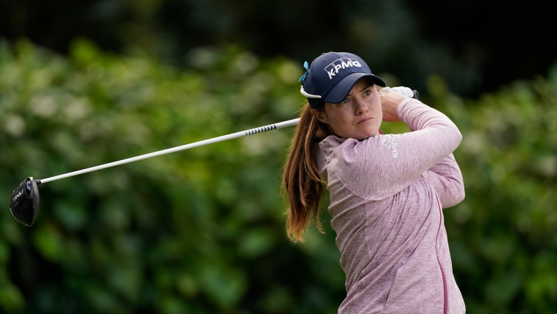 Leona Maguire tees off at the tenth hole during the first round of the LPGA's Hugel-Air Premia LA Open tournament at Wilshire Country Club Wednesday, April 21, 2021, in Los Angeles. (AP Photo/Ashley Landis)