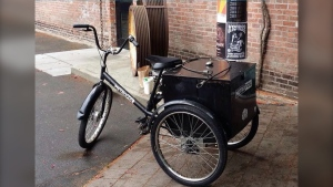 """Police in B.C.'s capital are asking the public for help locating a """"unique adult tricycle"""" that was recently stolen from a local business. (Victoria Police Department)"""